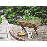 Forest Rectangular Trough Planter Natural Wood 760 x 1000 x 807mm 2