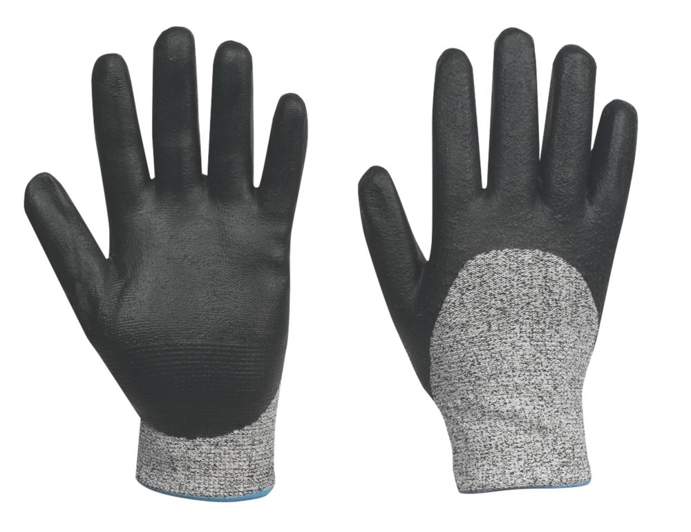 Cut-Resistant ¾ Nitrile Foam Gloves Grey / Black X Large