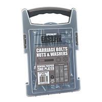 Easyfix BZP Mixed Carriage Bolts Pack 100 Piece Set