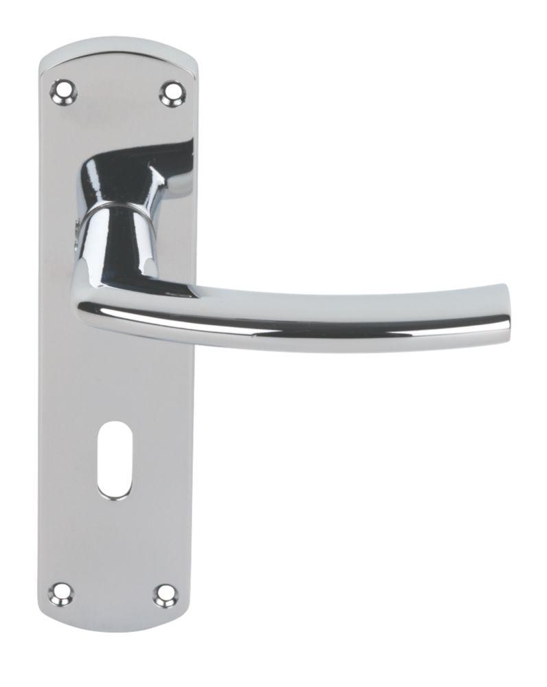 Serozzetta Dos Lever on Backplate Lock Door Handles Pair Polished Chrome
