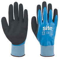Site Hydrogrip Latex Fully-Coated Gloves Black / Blue Large