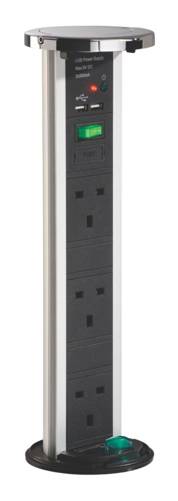Sensio PowerPod 13A 3-Gang & Dual USB Pop-Up Power Socket Polished Chrome
