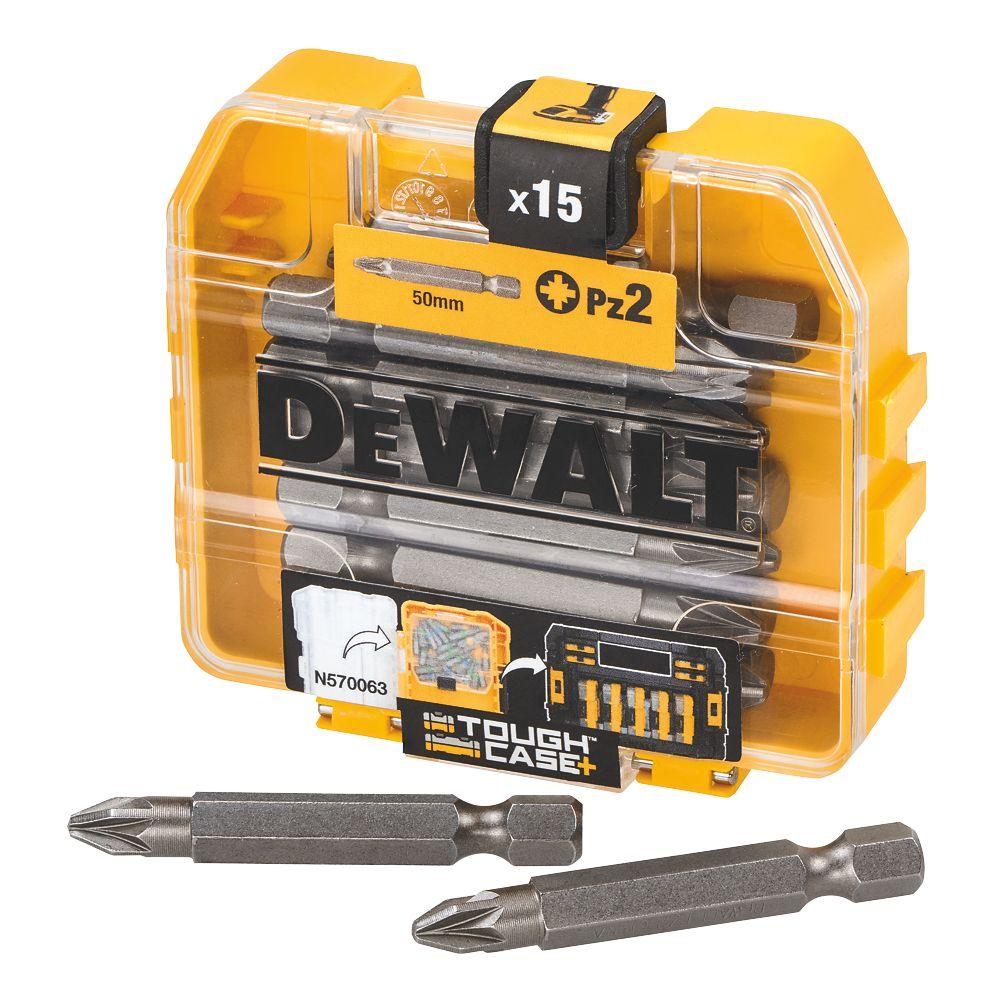 DeWalt Pozi Screwdriver Bit Box PZ#2 x 50mm 15Pcs
