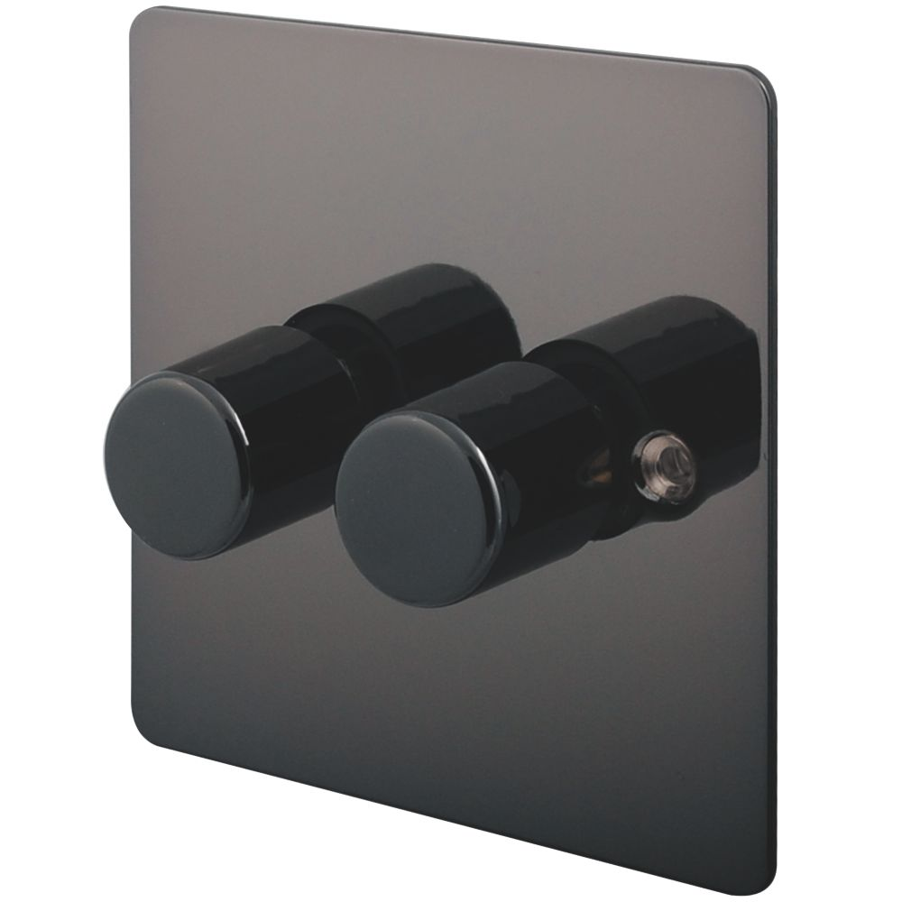 LAP 2-Gang 2-Way Push Dimmer Switch 400W/250VA Black Nickel