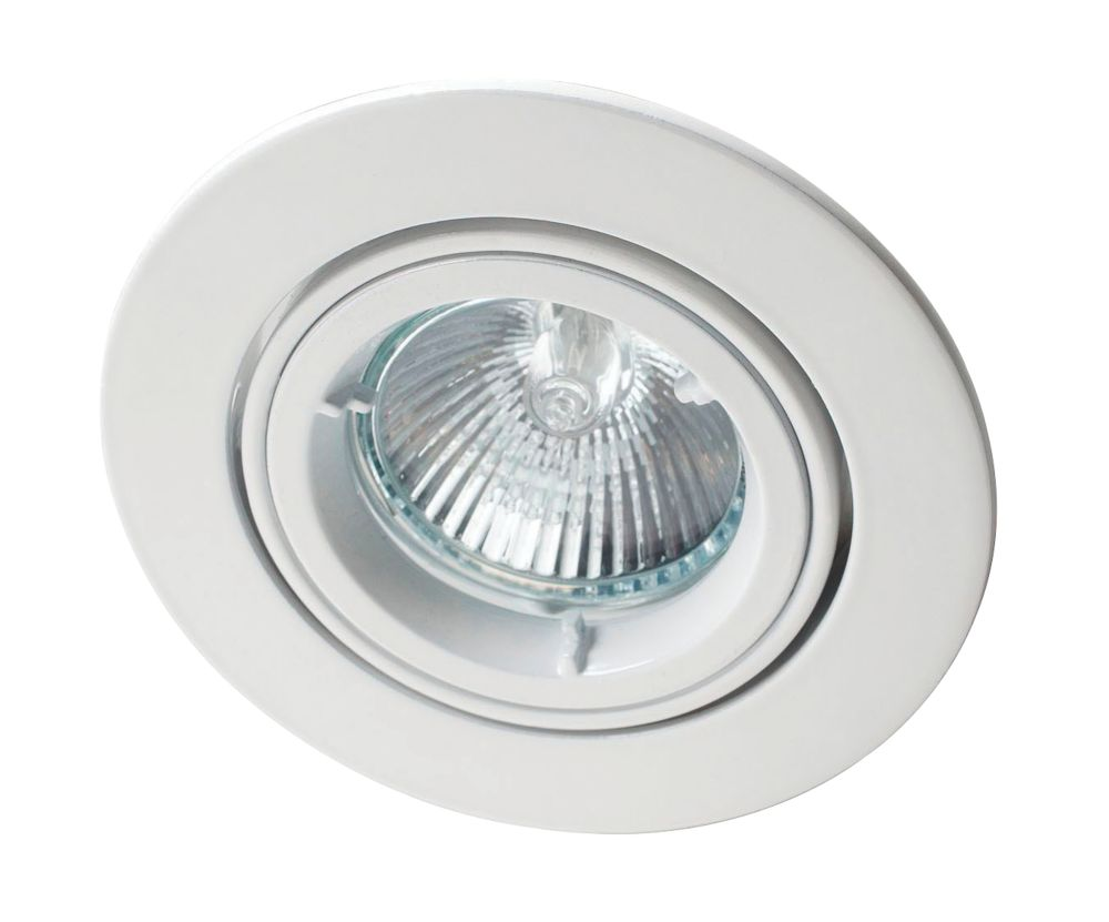 Robus Adjustable Round Mains Voltage Downlight White 240V