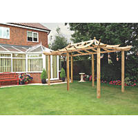 Grange Dragon Extended Pergola  Pressure-Treated Green  2.7 x 4.8 x 3.25m