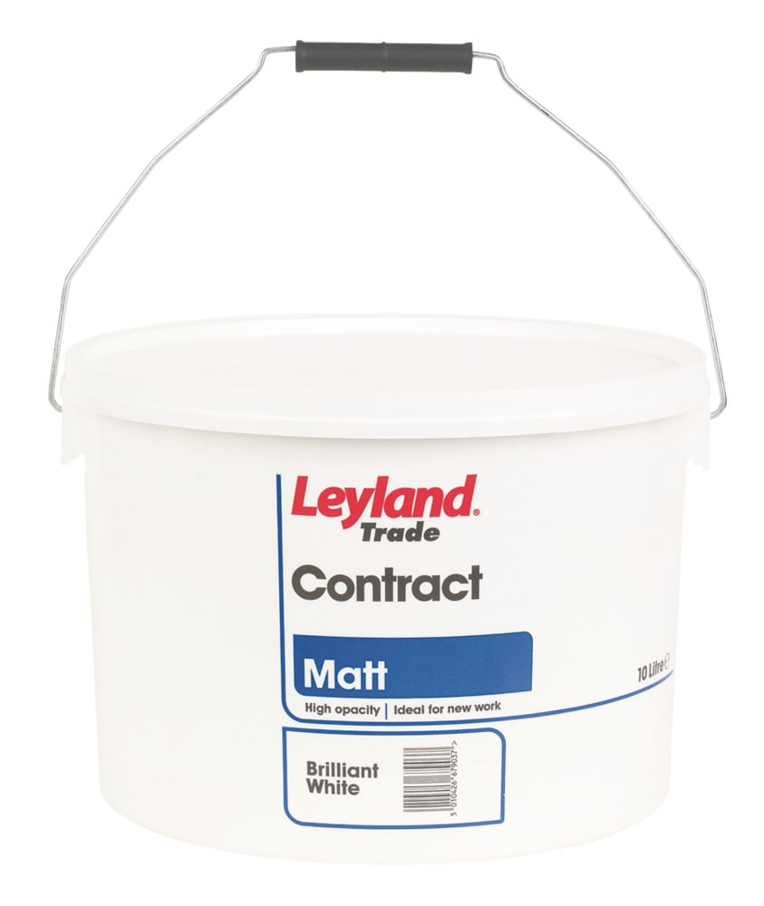 Leyland Contract Matt Emulsion Paint Brilliant White 10Ltr