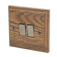 Varilight 10A SP 2-Gang 1/2-Way Switch Medium Oak