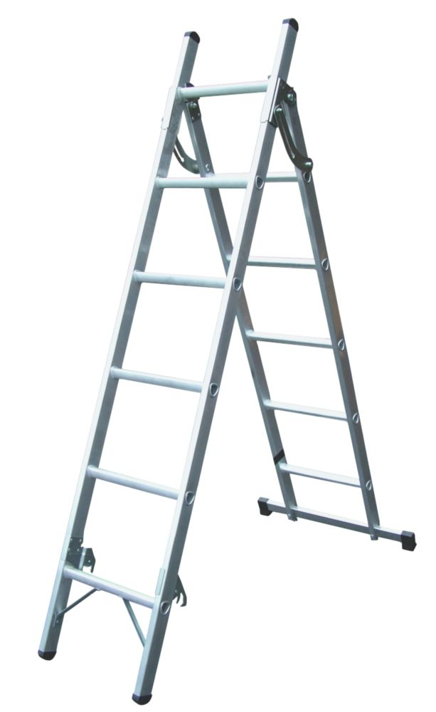 Lyte 3-Way 2-Section Aluminium Combination Ladder 6 x 5-Rung 2.59m
