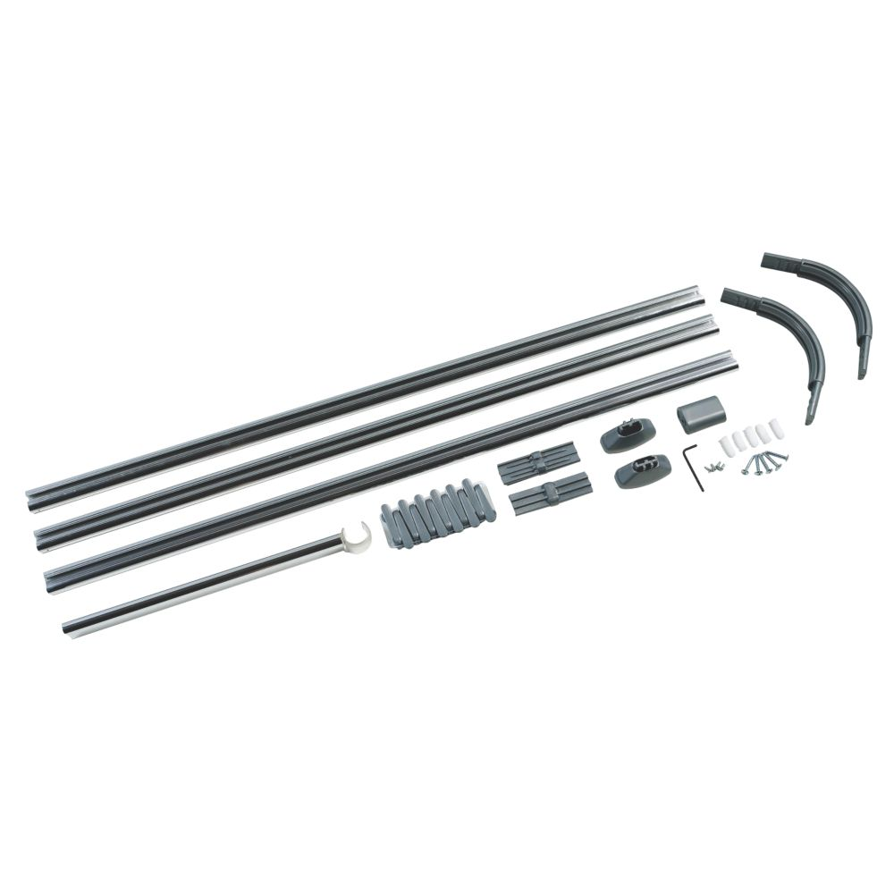 4-Way Shower Curtain Rail Kit Silver Effect