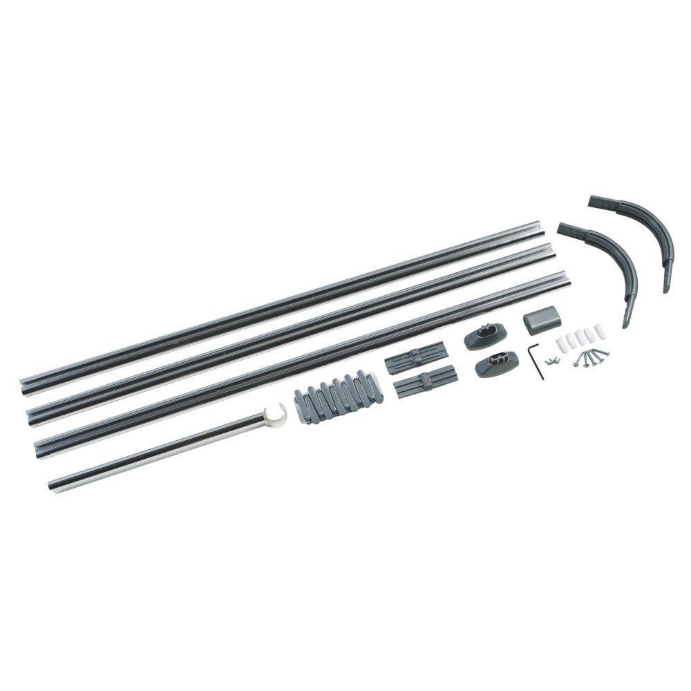 4-Way Shower Curtain Rail Kit Silver Effect