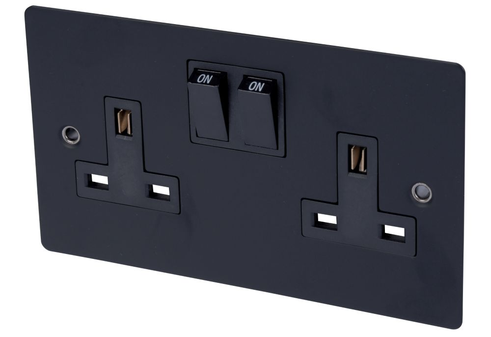 Volex 13A 2-Gang DP Switch Socket Blk Ins Matt Black Flat Plate