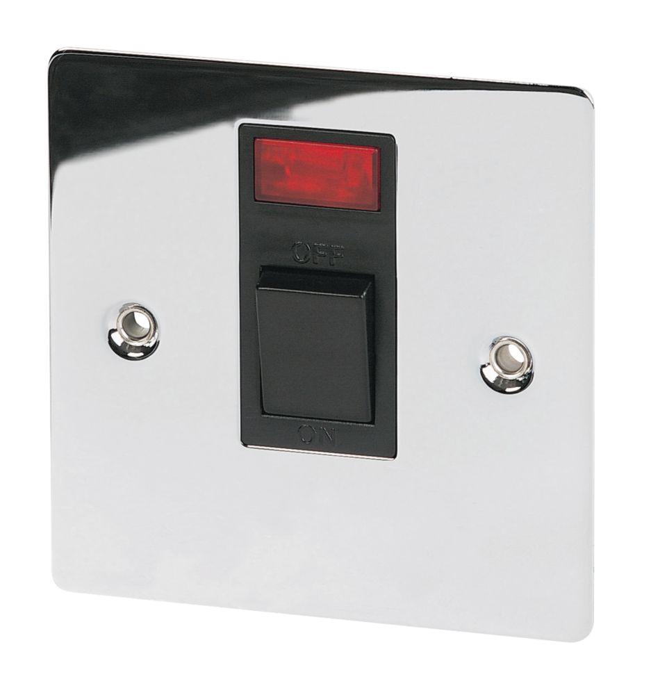 Volex 20A 1-Gang DP Switch & Neon Blk Ins Pol Chrome Flt Plt