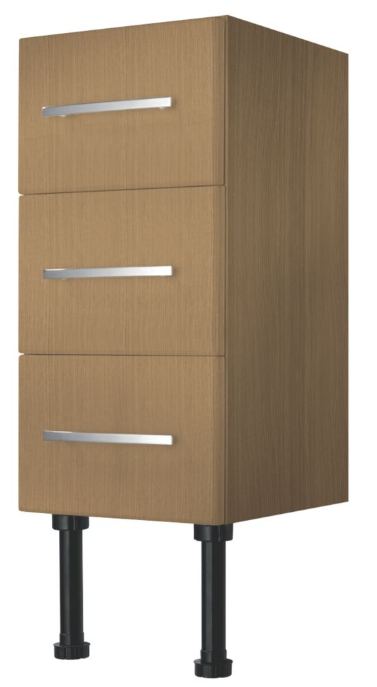 Bathroom Base Unit 3-Drawer Oak Effect 300 x 600mm
