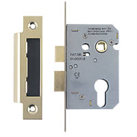 """Smith & Locke Euro Profile Sashlock Electro Brass 2½"""" (64mm) Backset"""