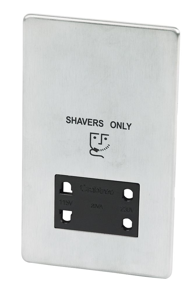 Crabtree Shaver Socket Brushed Chrome