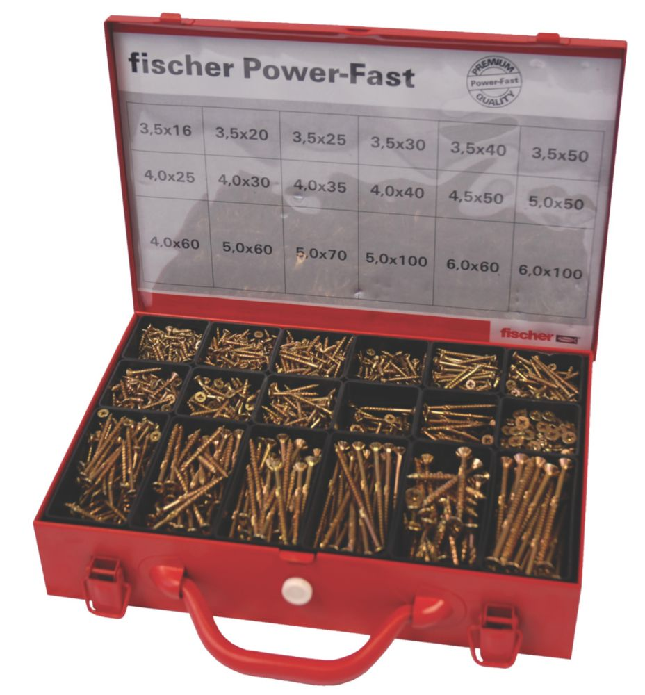 Fischer Power-Fast Screws Trade Case 2300Pieces