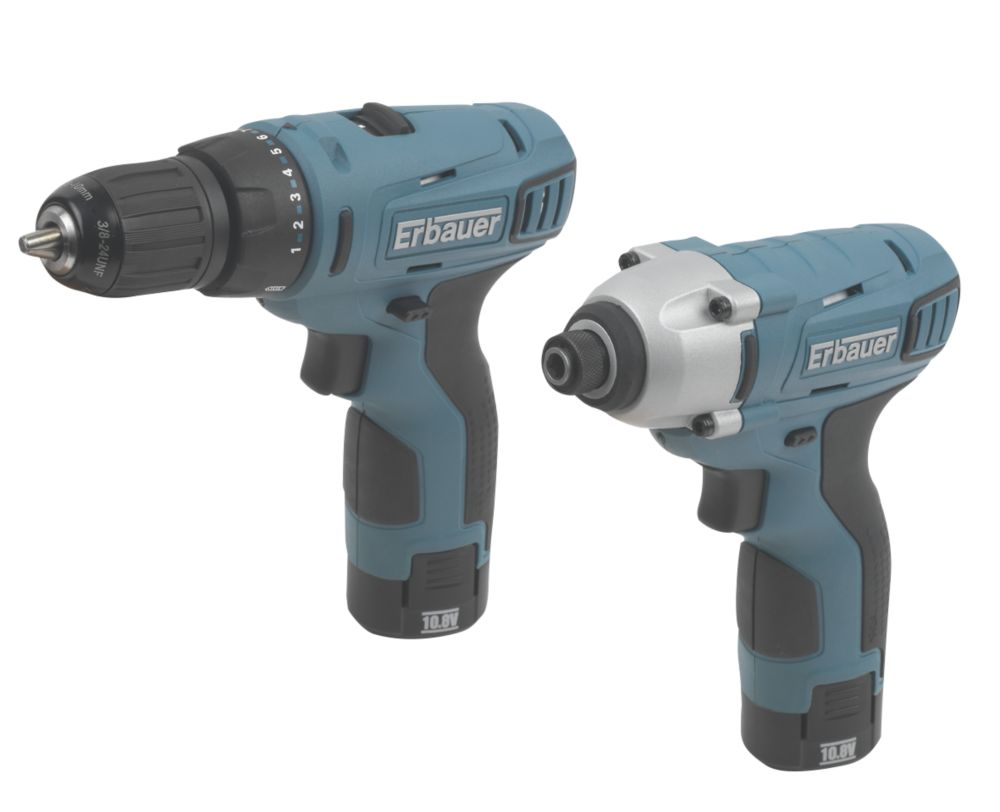 Erbauer ERP408KIT 10.8V 1.3Ah Li-Ion Twin Pack Drill & Impact Driver