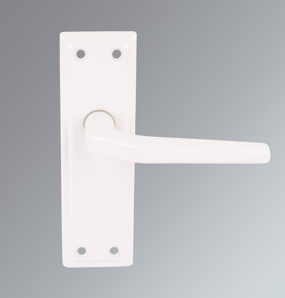 Harrison Lever on Backplate Latch Door Handles Pair Rose White