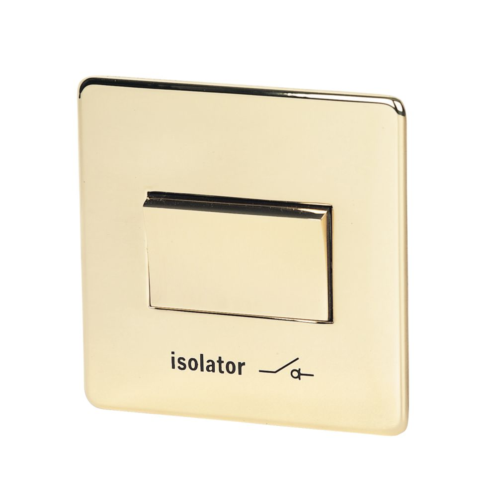 Crabtree 6AX Fan Isolating Switch Pol Brass Flat Plate
