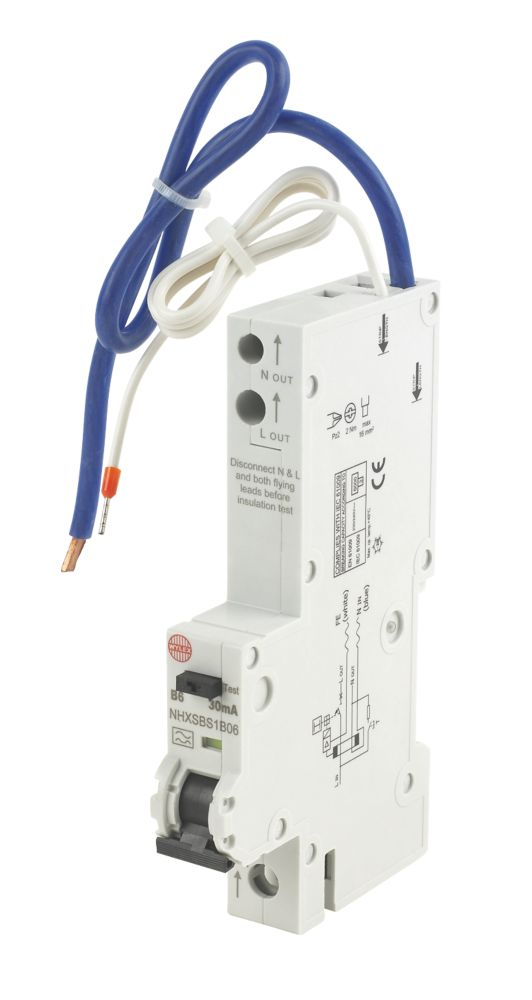 Wylex 6A 30mA Single Pole Type B-Curve RCBO