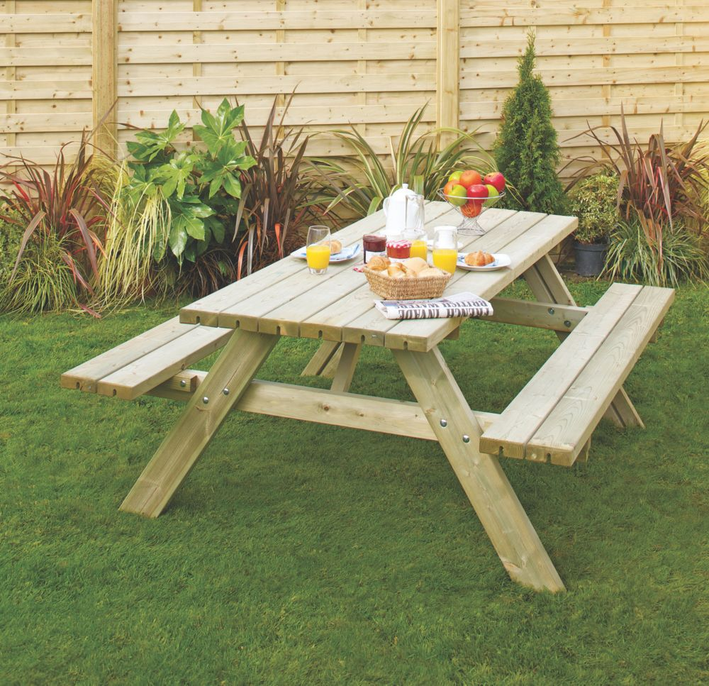 Grange Oblong Garden Picnic Table 153 x 81 x 200cm