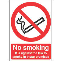 No Smoking It's Against The Law To Smoke On These Premises Sign 297 x 210mm