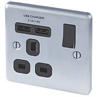 LAP 13A 1-Gang SP Switched Socket & 2-Gang USB Charger Port Brushed Steel