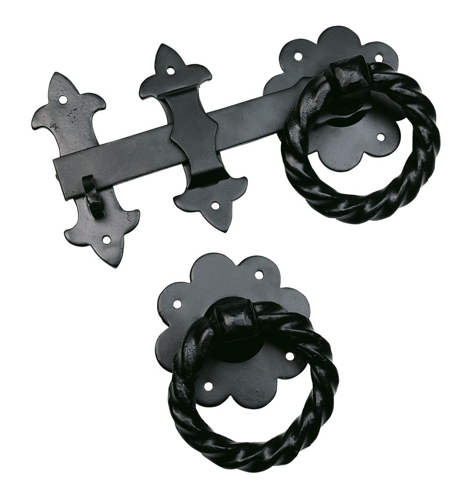 Antique Twisted Heavy Ring Latch Black 50 x 260 x 130mm