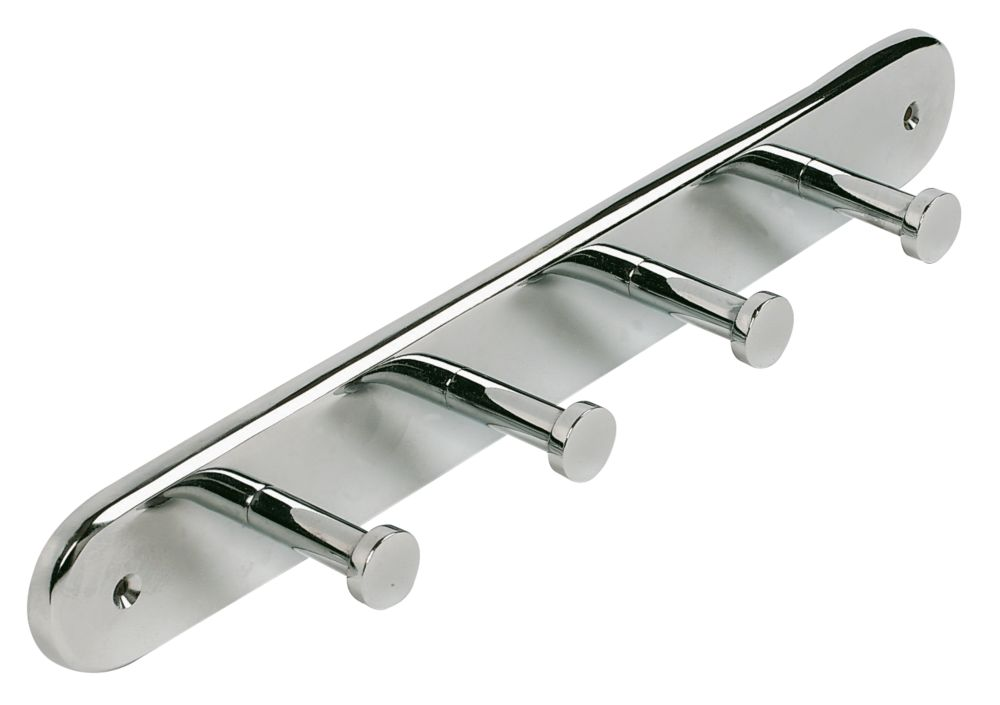 Coat Hook Rail Polished Chrome Effect 290 x 40mm