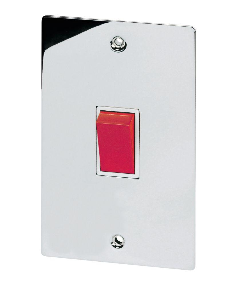 Volex 45A DP Switch Wht Ins Polished Chrome Flt Plt