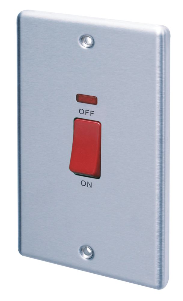 LAP 2-Gang 45A DP Cooker Switch with Neon Stainless Steel