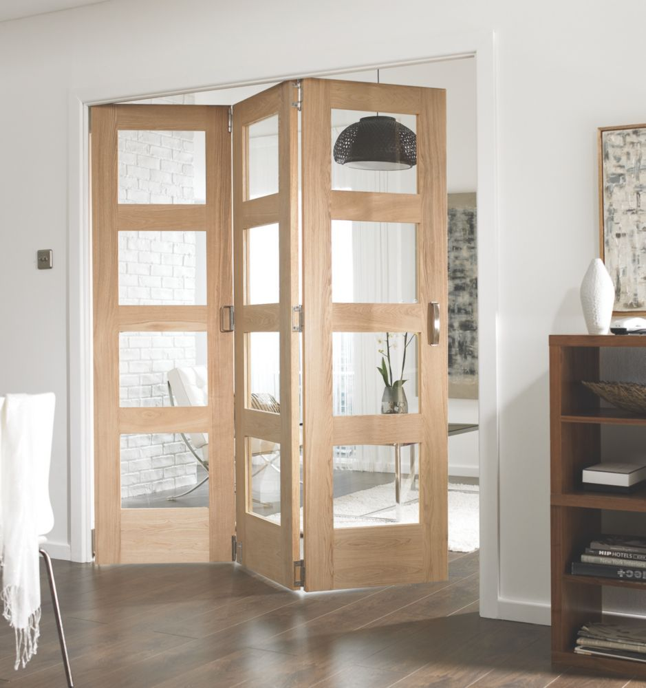 Jeld-Wen Softwood 3-Door Folding Room Divider Oak Veneer 1939 x 2044mm