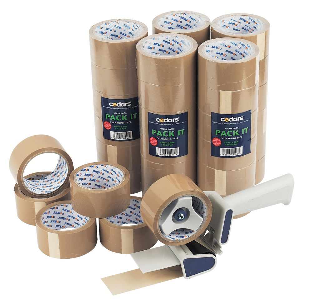 No Nonsense Packaging Tape 50mm x 50m & Dispenser Pack of 36