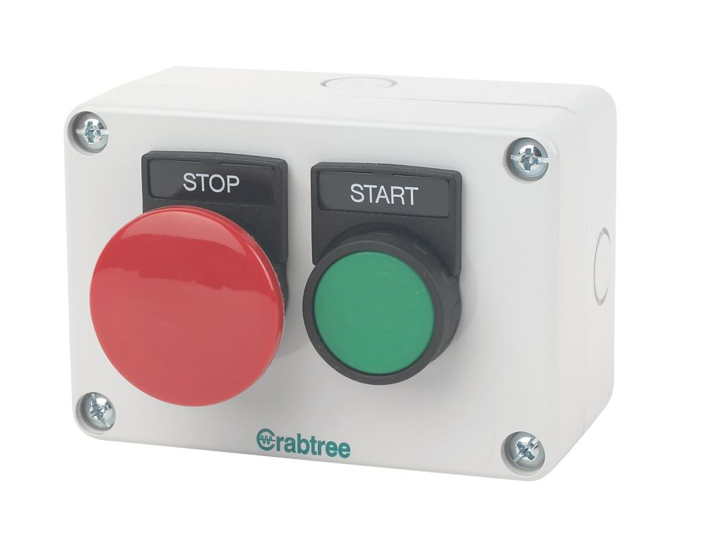 Crabtree 2-Way Mushroom Head Stop/Start Push Button