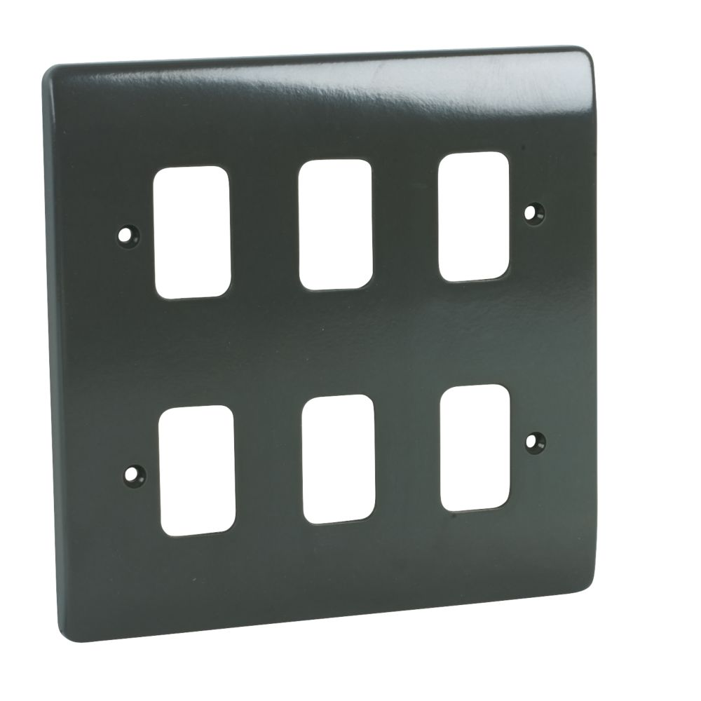 MK Grid Plus 6-Gang Front Plate Graphite