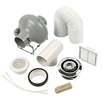 Manrose Pro Showerlite Centrifugal Shower Fan Kit Chrome 100mm
