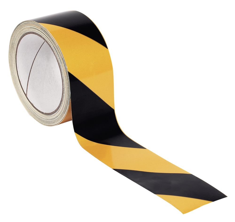 No Nonsense Reflective Tape Black/Yellow 50mm x 5m
