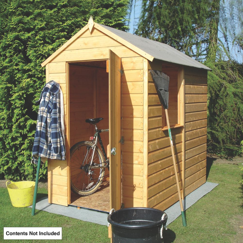 Shire Shiplap Solid Sheet Apex Shed 6 x 4 x 7' (Nominal)