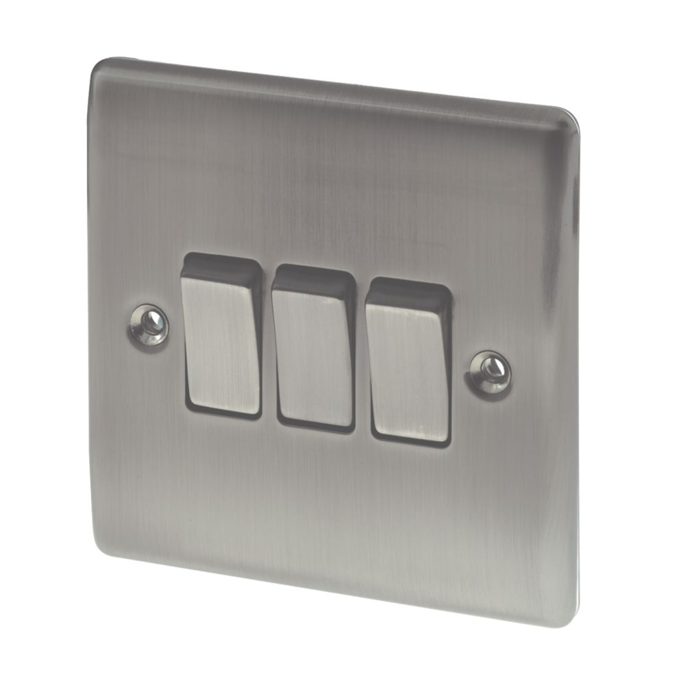 British General 3-Gang 2-Way 10AX Light Switch Brushed Iridium