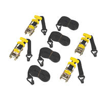 Ratchet Tie-Down Straps with J-Hook 4.8m x 31mm 4 Pack