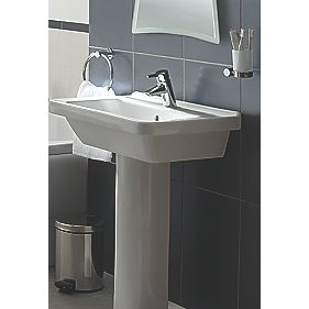 Vitra S5 55cm Square Washbasin and Full Pedestal