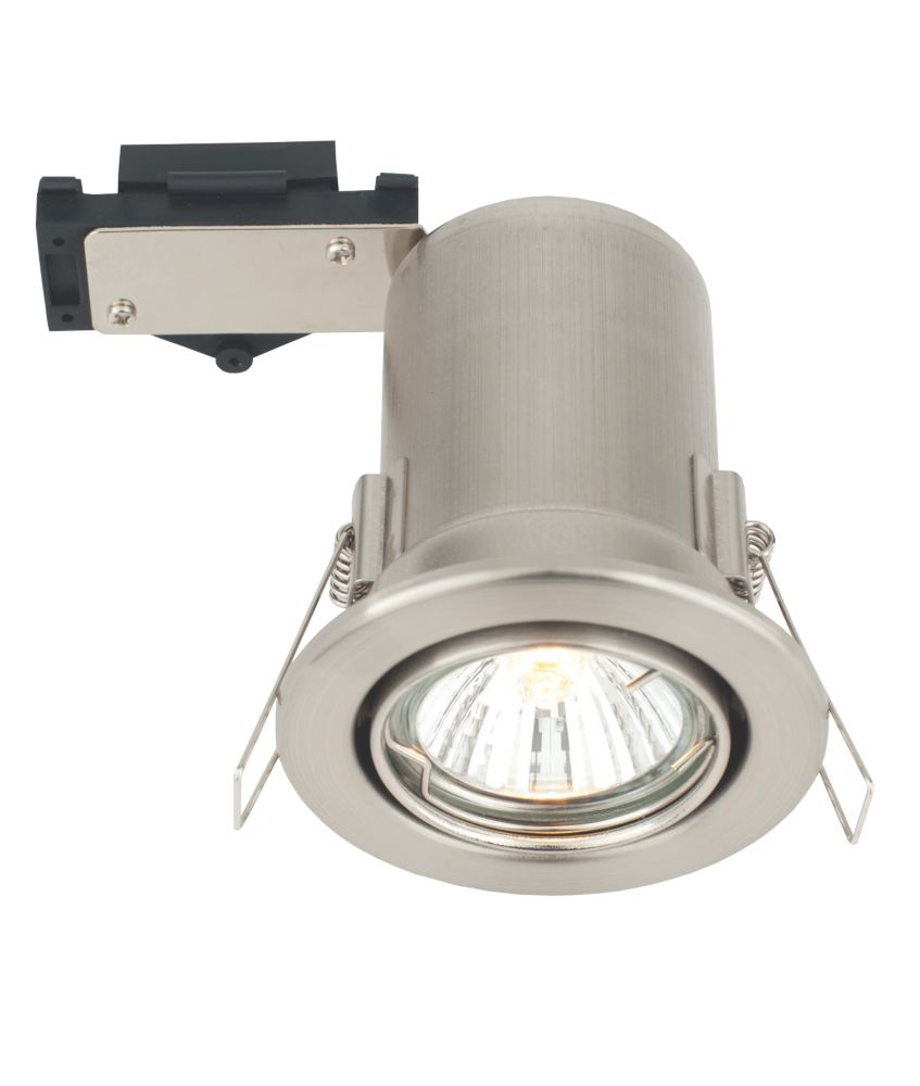 LAP Adjustble Mains Voltage Fire Rated Downlight Brushed Chrome Effect 240V