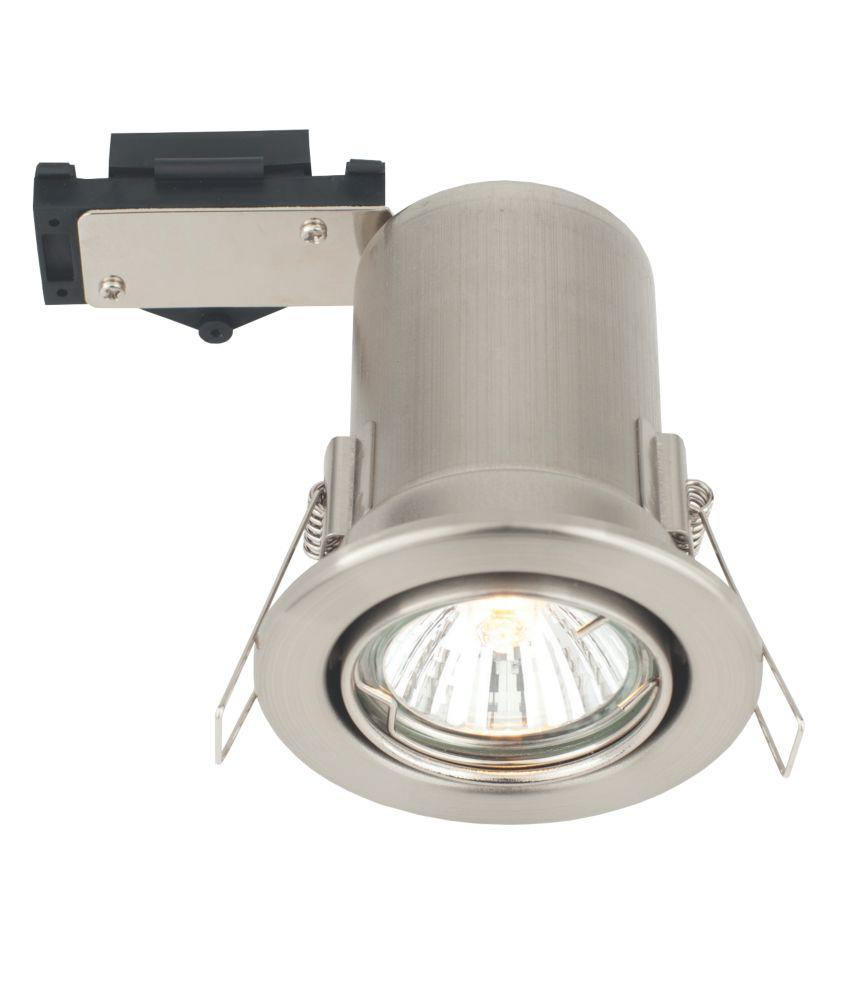 LAP Adjustble Mains Voltage Fire Rated Downlight Brushed Chrome Effect 240V