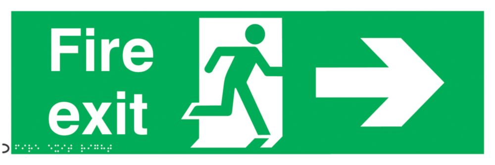 "Braille ""Fire Exit"" Right Arrow Sign 150 x 450mm"