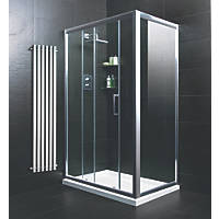 Moretti  Rectangular Sliding Door Shower Enclosure  Silver 1200 x 760 x 1850mm