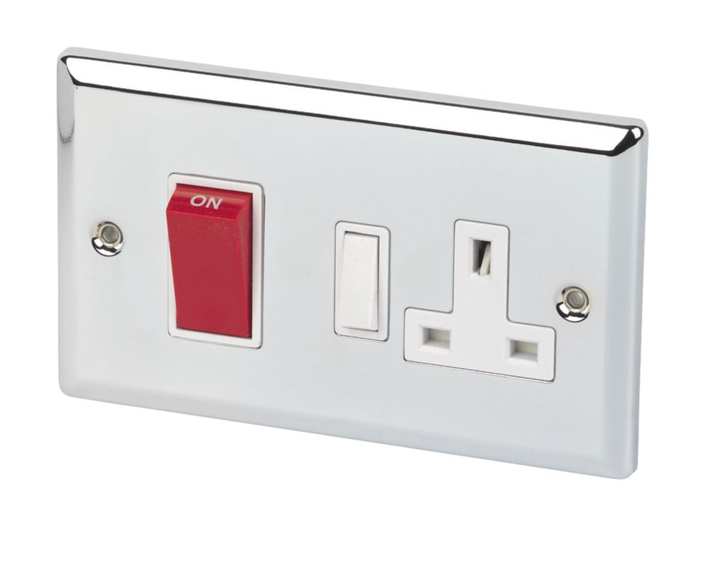 Volex 45A CCU & 13A Sw Socket Neon Wht Ins PC Angled