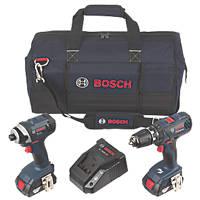 Bosch GSB18+GDR18 18V 1.5Ah Li-Ion Cordless Combi Drill & Impact Wrench Twin Pack