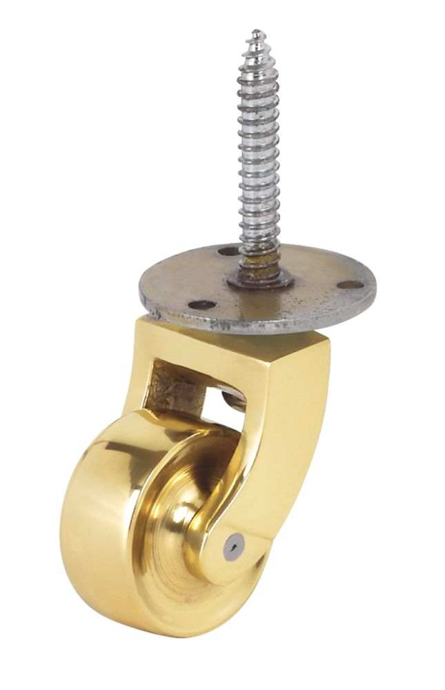 Screw Castor 32mm Polished Brass