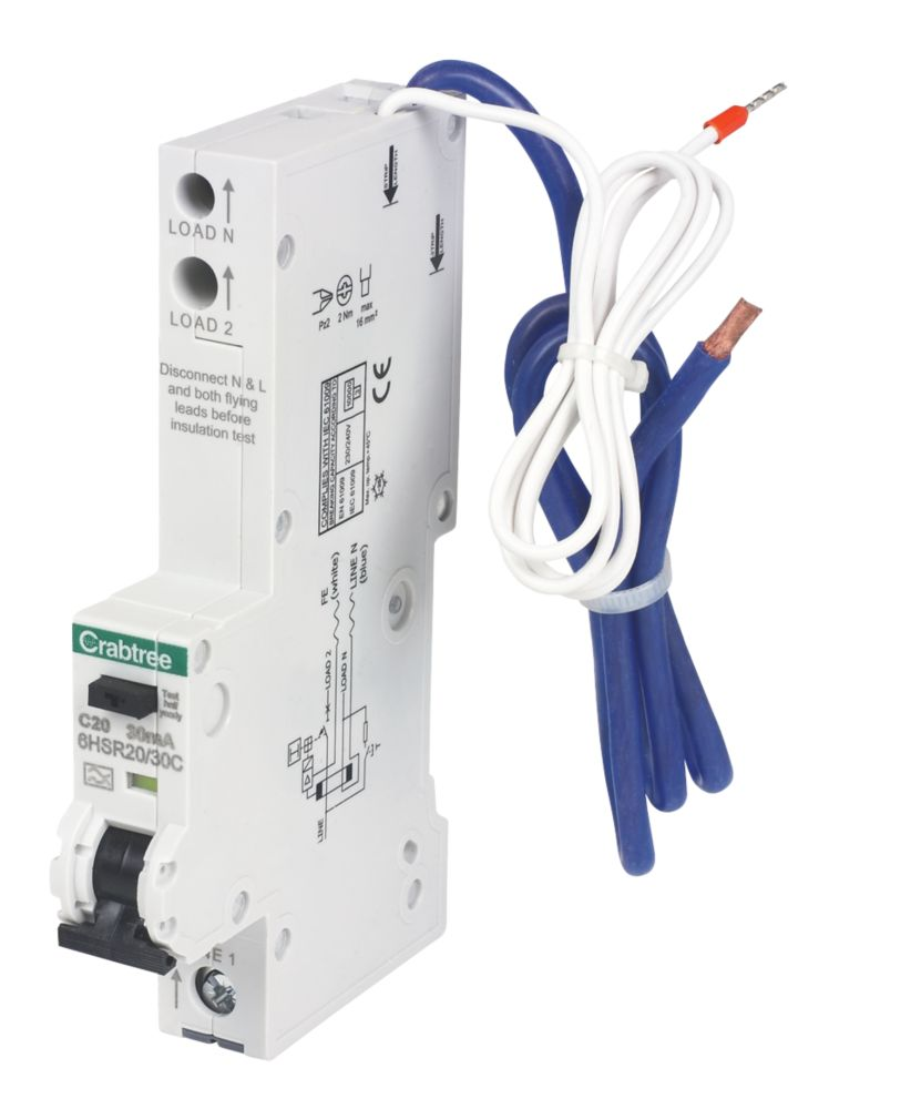 Crabtree 20A 30mA 1 Pole + Neutral Type A C Curve RCBO